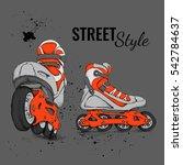 roller skate and grunge texture ... | Shutterstock .eps vector #542784637