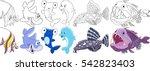 cartoon underwater animals set. ...