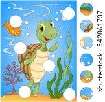 cartoon turtle and fish.... | Shutterstock . vector #542861737