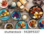 dinner table with variety food  ... | Shutterstock . vector #542895337