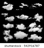 Set Of White Clouds Isolated O...
