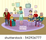 nursing old people home with... | Shutterstock .eps vector #542926777