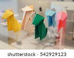 set of colorful origami dog on...   Shutterstock . vector #542929123