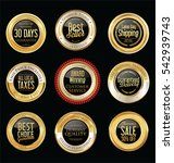 luxury golden retro badges... | Shutterstock .eps vector #542939743