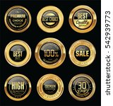 luxury golden retro badges... | Shutterstock .eps vector #542939773