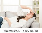young woman with headache lying ... | Shutterstock . vector #542943343