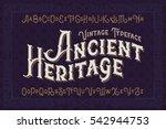 vintage vector font. elegant... | Shutterstock .eps vector #542944753