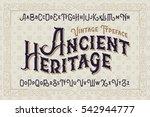 vintage vector font. elegant... | Shutterstock .eps vector #542944777