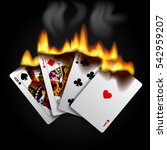 burning playing cards on black. ... | Shutterstock .eps vector #542959207