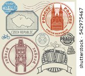 grunge rubber stamp and symbols ... | Shutterstock .eps vector #542975467