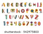 primitive mexican font. tribal... | Shutterstock .eps vector #542975803
