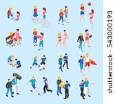 friends isometric icons set... | Shutterstock . vector #543000193