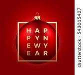 red christmas ball on red...   Shutterstock .eps vector #543015427