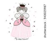 cute little princess  doodle... | Shutterstock .eps vector #543025987