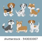 Stock vector vector set with cute cartoon dog puppies beagle dalmatian shiba inu husky corgi jack russell 543033307
