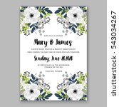 anemone wedding invitation card ... | Shutterstock .eps vector #543034267