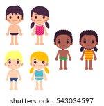 Cute Vector Set Of Kids  Girls...