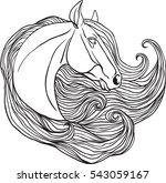 horse portrait. coloring page