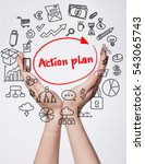 Small photo of Technology, internet, business and marketing. Young business woman writing word:action plan