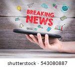 breaking news. tablet computer... | Shutterstock . vector #543080887
