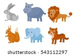 zoo wild animals colorful set.... | Shutterstock .eps vector #543112297