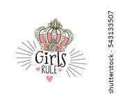 girls rule  typographic print... | Shutterstock .eps vector #543133507