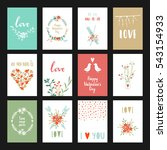 valentines day set cards.... | Shutterstock .eps vector #543154933