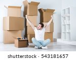 young man in a new house.... | Shutterstock . vector #543181657