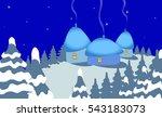 winter landscape with snow  fir ... | Shutterstock .eps vector #543183073