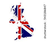 united kingdom map and flag in