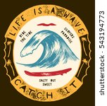 life is a wave   catch it.... | Shutterstock .eps vector #543194773
