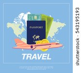 set to travel. the plane  a... | Shutterstock .eps vector #543195193