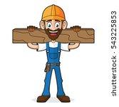 handyman holding wood plank | Shutterstock .eps vector #543225853