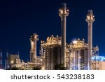 Small photo of Refinery Gas turbine electric power plant in night at Amata industrial estate, Factory