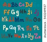 vector hand drawn alphabet.... | Shutterstock . vector #543249937