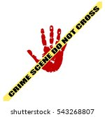 bloody handprint and police... | Shutterstock .eps vector #543268807
