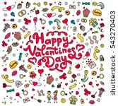 happy valentines day. red hand...   Shutterstock .eps vector #543270403