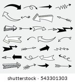set of arrow doodle   vector... | Shutterstock .eps vector #543301303