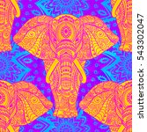 pattern with elephant and... | Shutterstock .eps vector #543302047