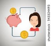 woman cartoon piggy currency... | Shutterstock .eps vector #543324493