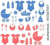 set of baby boy and girl... | Shutterstock . vector #543367057