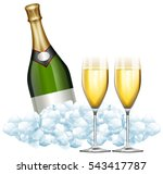 two glasses of champagne and... | Shutterstock .eps vector #543417787