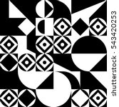 geometric black and white... | Shutterstock .eps vector #543420253