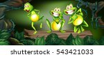 Three Frogs Dancing On Log In...