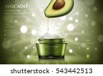avocado cream ads  oil dripped... | Shutterstock .eps vector #543442513