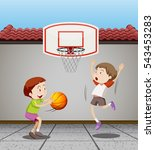two boys playing basketball at... | Shutterstock .eps vector #543453283