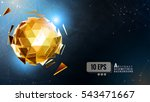 The glowing gold polygonal abstract triangular sphere combine on dark shatter graphic template background | Shutterstock vector #543471667