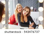 funny faces in front of mirror | Shutterstock . vector #543476737