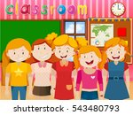 cute girls in the classroom... | Shutterstock .eps vector #543480793
