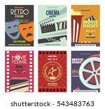 colorful retro cinema posters... | Shutterstock .eps vector #543483763